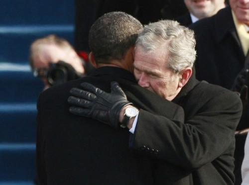 Bush Obama Hug Friends