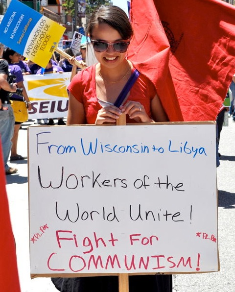 SEIU Unbelievable Photos Of Obama Supporters Marching Arm In Arm With Communists In California