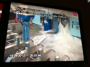 Hurricane Sandy - Water Pouring Into The Subway System