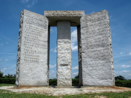 The Georgia Guidestones Which Advocate A Maximum Human Population Of 500 Million 450x337 30 Population Control Quotes That Show That The Elite Truly Believe That Humans Are A Plague Upon The Earth