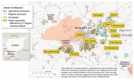 Syria Damascus Areas of Influence and Areas Reportedly Affected by 21 August Chemical Attack 450x269 The UN Has Had Evidence That Syrian Rebels Have Been Using Chemical Weapons Since May