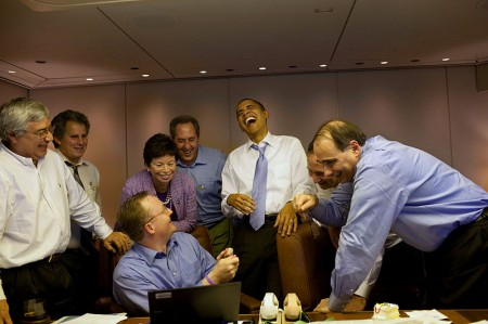 Barack Obama, Valerie Jarrett, David Axelrod And Other Staff Members Laugh It Up